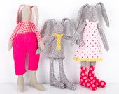 Easter bunny -Rabbits Family ,mother father and child ,he in red pink plaid shirt she in Polka Dots dress and Socks, child in  Yellow tie