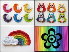 Crochet Applique-Birds, Owl, and Rainbow