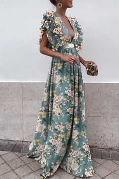 Sexy Deep V Collar Floral Printed Maxi Dress - Robe 2019 Mode Outfits, Dress Outfits, Fashion Outfits, Dress Fashion, Formal Outfits, Womens Fashion, Boho Fashion, Fashion Weeks, Fashion Spring