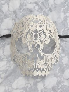 Ivory-Metal-Filigree-Skull-Mask-but as a tattoo Danse Macabre, Mardi Gras, Lace Skull, Metal Skull, Feather Mask, Skull Mask, Venetian Masks, Masquerade Ball, Skull And Bones