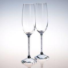 NEW Crystal Wine Glass Set 2 pc Champagne Flutes StemwareRhinestone Stem Top GradeNEW   usa9001.com/new-crystal-wine-glass-set-2-pc-champagne-flutes-stemware-rhinestone-stem-top-grade_p0923.html