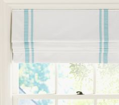 Pottery Barn Kids' roman shades feature a cordless design. Find window treatments and roman shades and give the room a boost of personality and style. Cordless Roman Shades, Diy Roman Shades, Custom Roman Shades, Roman Shades Kitchen, Contemporary Roman Blinds, Window Coverings, Window Treatments, Roman Shade Tutorial, Aqua Nursery