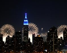 Empire State Building all lit up during the 4th of July with LED lights.