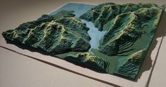 Handcut Contours Topography Map of Milford Sound by Sam Caldwell Topography Map, Isometric Map, Landscape Model, Origami Paper Art, 3d Printing Technology, Design Graphique, Colored Paper, Design Reference, Art Sketchbook