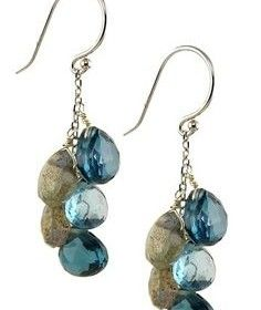 14K White Gold Topaz & Labradorite Cluster Dangle Earrings by Jewelmak on @HauteLook