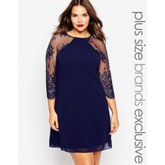 Little Mistress Plus Shift Dress With Lace Sleeves ($50) ❤ liked on Polyvore featuring dresses, navy, plus size, navy blue shift dress, plus size blue dress, tall plus size dresses, zipper dress and navy dress