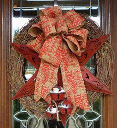 Grapevine Christmas Wreath with a TEXAS Star BURLAP by decoglitz