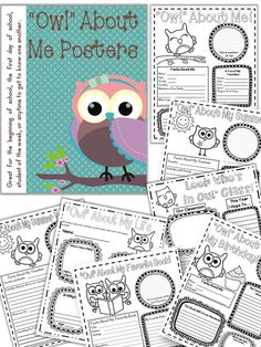 Owl About Me Posters.  Perfect for student of the week, birthday recognition, getting to know one another, parent night, etc.  $