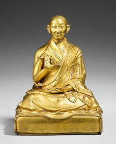 A Tibetan gilt bronze figure of the Fifth Panchen Lama. 18th century, Auction 1053 Asian Art, Lot 458-A Tibetan gilt bronze figure of the Fifth Panchen Lama 18th century Height 21.3 cm Result: € 96,720 Lempertz