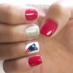 NFL Super Bowl Patriots nail art design