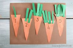Counting Carrots Spring is in the air and I can't wait to start digging in the garden. Which is where the inspiration for our this counting activity came from.  Great fine motor practice and great 1:1 correspondence.  Build strong number sense while having fun!!  Read more at:  http://www.housingaforest.com/preschool-counting-activities-counting-carrots/