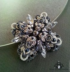 Купить Silver crystal - серебряный, серый, серебристый, дымчатый серый, коктейльное кольцо, крупное кольцо