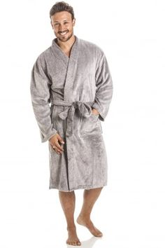 831854a64f Mens Supersoft Fleece Grey Bathrobe Camille Lingerie