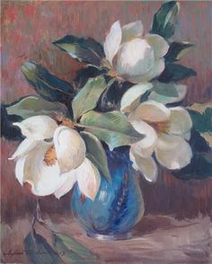 Magnolias in Iznik Vase by Turkish Painter Ayhan Türker