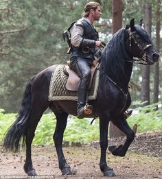 Chris Hemsworth shows off horse riding skills on The Huntsman set Medieval Horse, Medieval Fantasy, Knight On Horse, Draft Horses, War Horses, Most Beautiful Horses, Friesian Horse, Horse Girl, Man With Horse