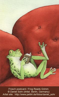 Frosch postcard / Frog reads Grimm © Daniel SOHR (Artist. Berlin, Germany). Illustrator's site: http://www.io-home.org/portfolios/s/bilder?k_User=341 Cute green frog kicks back and enjoys a relaxing read in an overstuffed red easy chair. ... Pin from the Primary Source.