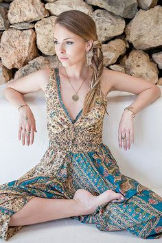 Recycled Sari Silk Harem Playsuit