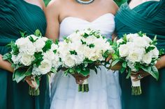 Hunter green and white bouquet
