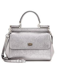 Dolce & Gabbana - Miss Sicily Small metallic leather shoulder bag - @ www.mytheresa.com