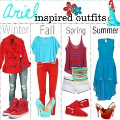 Winter, Fall, Spring, and Summer outfits inspired by Ariel.