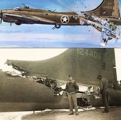 """life-is-aviation: """" The story of B-17 """"All American"""" A mid-air collision on February 1, 1943, between a B-17 and a German fighter over the Tunis dock area, became the subject of one of the most famous..."""