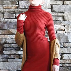 Vintage Rusty Red Turtleneck Sweater Dress | Young Canada High Twist | 1930s | Shop on Inselly | $25