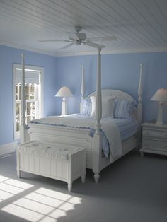 Always a thing for blue and white.  Heart bead board ceiling.