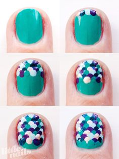 boing! I love these! Very reminiscent of a mermaid, it would be fun to do some of these dots with a glitter polish.