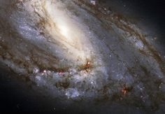 "The Messier 66 Spiral Galaxy, the largest ""player"" of the Leo Triplet, and a galaxy with an unusual anatomy: it displays asymmetric spiral arms and an apparently displaced core. The peculiar anatomy is most likely caused by the gravitational pull of the other two members of the trio."