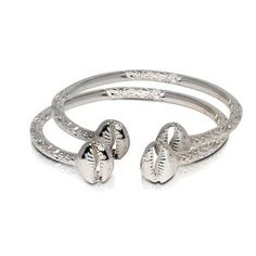 Enjoy exclusive for Better Jewelry INC Better Jewelry INC Solid Sterling Silver Cowrie Shell Bangles (Pair) (Made USA) online - Newtopbuy Silver Bangle Bracelets, Sterling Silver Necklaces, Silver Jewellery Indian, Indian Bangles, Bangles Making, Gemstone Jewelry, Women Jewelry, Tribal Style, West Indian