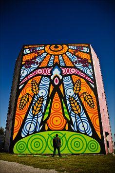 Guardian of the Mother Road, a mural by Public Arts Project 66 - El Reno, OK