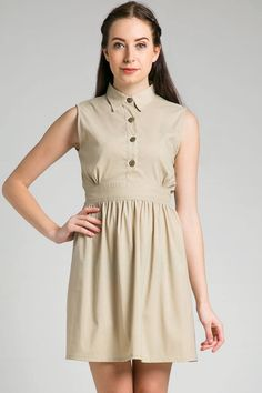 Claire Dress by Marie & Frisco IDR 175.000. A sleeveless shirt with front button on top and elastic waist accent on back.