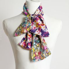 Multicolored silk scarf pattern mix of by CinneWorthington on Etsy
