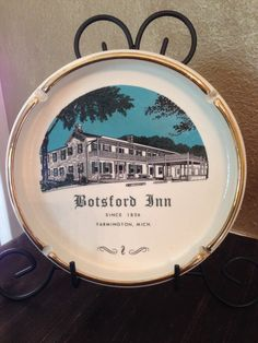 Antique Botsford Inn Ashtray,Trimmed In Gold,Henry Ford,Grand River Plank Road,Anhuts,1924,Farmington,MI,Ashtray,16 Mile House,Tavern,1836 by Sunshineoftreasures on Etsy
