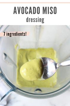 Avocado Miso Dressing is a dairy free creamy salad dressing or dip made with less than 10 ingredients. Made with a blend of avocado, miso, apple cider vinegar, lemon juice, and nutritional yeast, it's packed with healthy fats, gut-friendly probiotics, and tons of flavor. This creamy salad dressing can also be used as a dip for crudités. #avocado #highfat #lowcarb #lowcarbrecipes #highfatrecipes #miso | chelseyamernutrition.com Healthy Appetizers Dips, Healthy Salads, Healthy Fats, Creamy Salad Dressing, Miso Dressing, Dairy Free Recipes, Vegetarian Recipes, Gluten Free, Low Carb Side Dishes