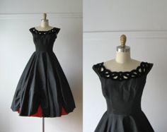 vintage 1950s dress / 50s dress / Black Cherry