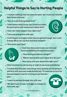 15 Helpful Things to Say to Hurting People Mental And Emotional Health, Emotional Healing, Mental Health Awareness, Social Emotional Learning, How To Comfort Someone, Therapy Tools, Coping Skills, Life Skills, Self Improvement Tips