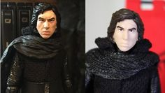 Kylo Ren Star Wars Black Series Action Figure Custom Repaint Before and After