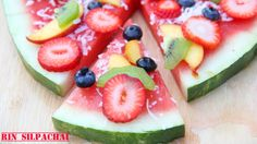 How to make a Watermelon Pizza! พิซซ่าแตงโม แสนชื่นฤทัยนะขอบอก 西瓜比薩