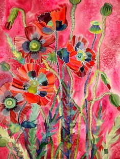 Red Poppies on Pink Silk