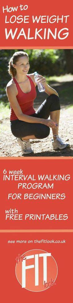 How to lose weight walking. This 6 week interval walking program is designed to easily fit into a busy schedule. Increase intensity each week and log your walks to help you plan the best times to schedule your walks the following week. With free printable schedule, logs and stretch chart.