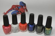 Spiderman OPI collection...I like the dark blue and the green to the right