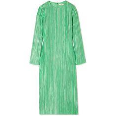 Tibi Plissé-satin midi dress ($995) ❤ liked on Polyvore featuring dresses, green, structured dress, structured midi dress, midi dress, calf length dresses and mid calf cocktail dresses