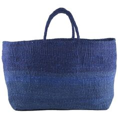Far & Wide Collective Blue Sisal Bag - Kenya By (€135) ❤ liked on Polyvore featuring bags, handbags, tote handbags, tote purses, blue hand bag, blue purse and blue tote bag