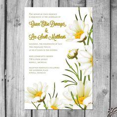 Lovely daisy wedding invitations via Etsy.