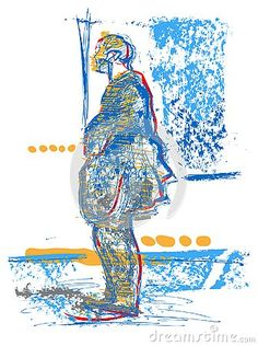 Illustration about People of the streets of London. Red and blue tones. Illustration of color, looking, poster - 136574513 London Street, Street Look, Blue Tones, Red And Blue, City, Illustration, Artwork, People, Image