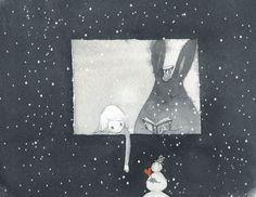 Leyendo con la nieve (ilustración de Kim Minji)