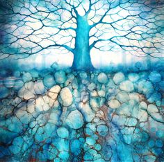 'Winters Treescape' Original mixed media on board with resin by artist Kerry Darlington. Available at Wyecliffe Galleries: http://wyecliffe.com/collections/kerry-darlington-art/products/winters-treescape-original-darlington