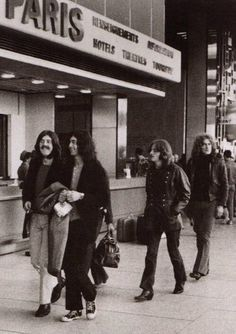 Led Zeppelin band members, arriving in Paris at the Orly Airport, 1969.