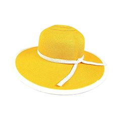 Boardwalk Style Yellow Wide-Brim Sunhat (£6.80) ❤ liked on Polyvore featuring accessories, hats, wide brim sun hat, paper hats, yellow hat, sun hat and wide brim hat